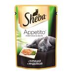 Влажный корм SHEBA APPETITO с курицей и индейкой в желе