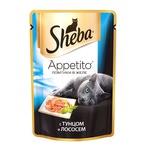 Влажный корм SHEBA APPETITO с тунцом и лососем в желе