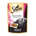 Влажный корм SHEBA PLEASURE ломтики в соусе из говядины и кролика