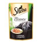 Влажный корм SHEBA PLEASURE ломтики в соусе из курицы и индейки