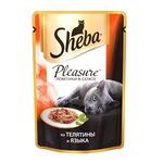 Влажный корм SHEBA PLEASURE ломтики в соусе из телятины и языка