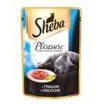 Влажный корм SHEBA PLEASURE ломтики в соусе с тунцом и лососем