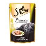 Влажный корм SHEBA PLEASURE ломтики в соусе с уткой и цыпленком