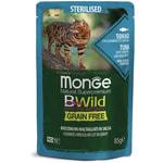 Влажный корм Monge Cat BWild Grain Free для стерилизованных кошек (тунец, креветки с овощами)