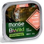 Влажный корм Monge BWild Cat Grain Free для стерилизованных кошек (лосось с овощами)