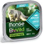 Влажный корм Monge BWild Cat Grain Free для стерилизованных кошек (треска и овощи)