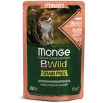 Влажный корм Monge Cat BWild Grain Free для стерилизованных кошек (лосось с креветками и овощами)