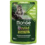 Влажный корм Monge Cat BWild Grain Free для стерилизованных кошек (кабан с овощами)