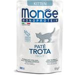 Влажный корм Monge Monoprotein для котят с форелью