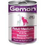 Влажный корм GEMON DOG MEDIUM кусочки с говядиной и печенью