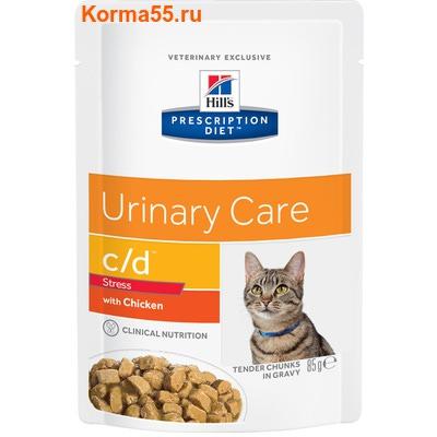 Влажный корм PD c/d Feline Urinary Stress с Курицей (Нежные кусочки в соусе)